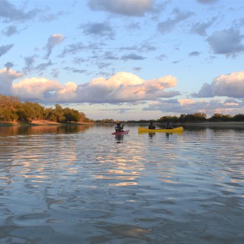 Kayaking at the dam