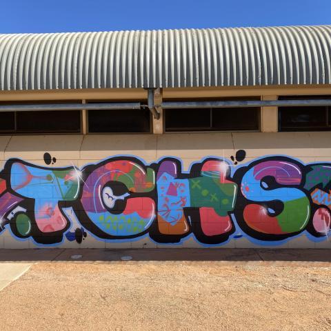 TCHS artwork on building