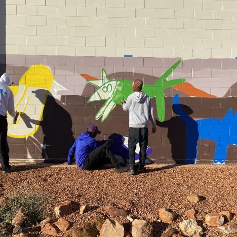 Cheeky Dog artwork at Tennanet Creek High School